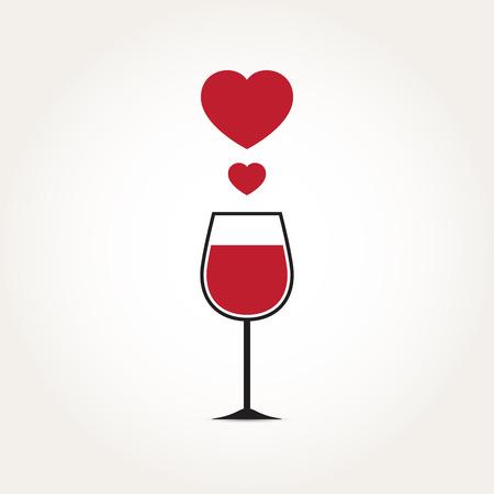 Vector Love Heart Wine Glass Illustration