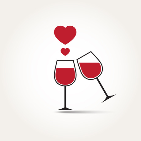 Vector Love Heart Wine Glass Couple Illustration