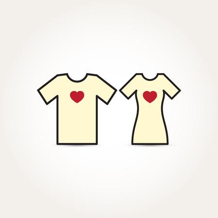 Vector Love Heart Couple Shirt Illustration