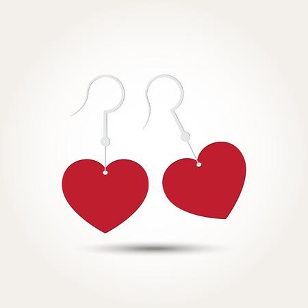 Vector Love Heart Couple Earring Illustration Illustration