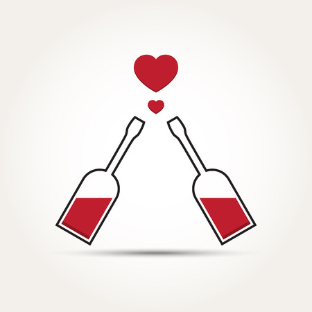 Vector Love Heart Couple Bottle Illustration