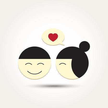 Vector Love Heart Couple with bubble talk Illustration Illustration