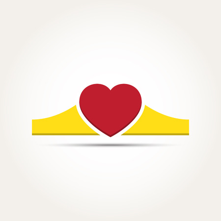 heart with crown: Vector Love Heart Crown Illustration
