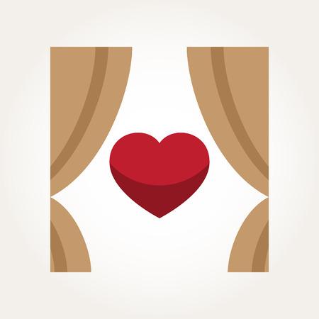 Vector Love Heart Curtain Illustration