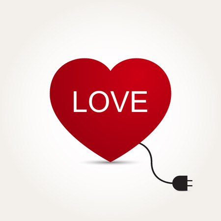 Vector Love Heart Electric Plug Illustration