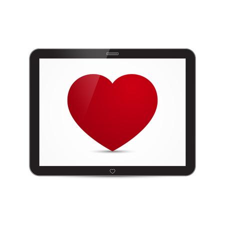 Vector Love Heart Tablet Illustration
