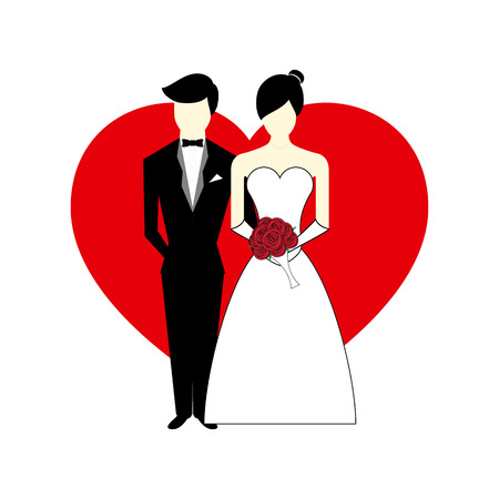 Vector Bride and Groom with Heart as background Illustration