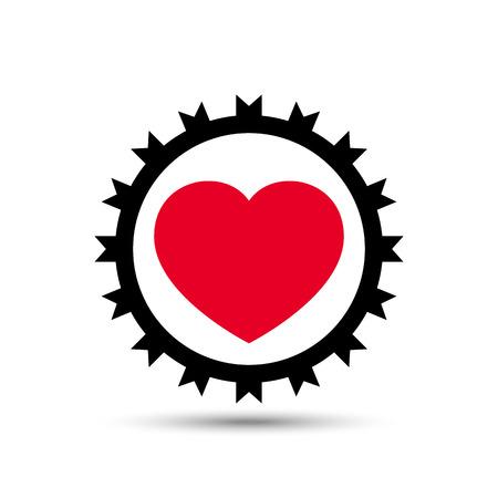 Vector Love Heart Gear on white background Illustration Illustration
