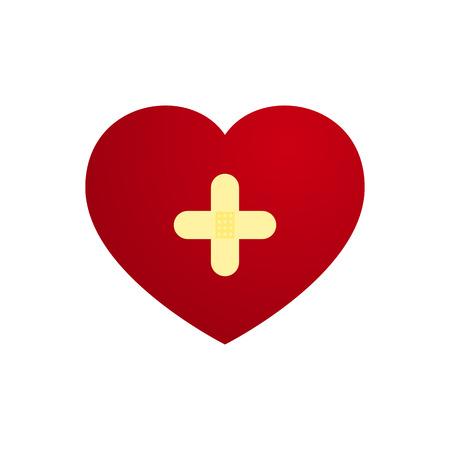 love heart: Vector Love Heart with Plaster in cross shape Illustration