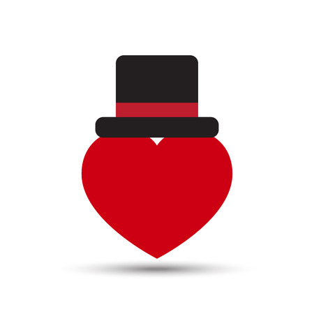 top black hat: Vector Love Heart with Black Top Hat Illustration