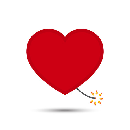 Vector Love Heart Fire Cracker Design Illustration Illustration