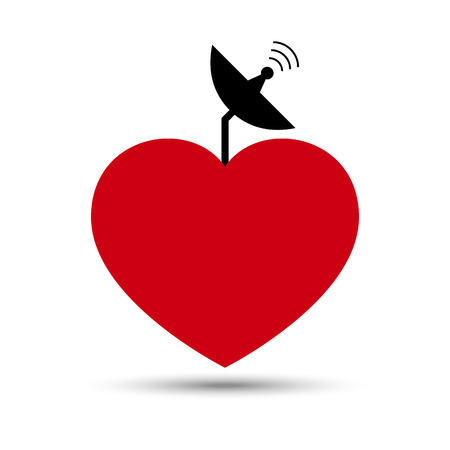 sattelite: Vector Love Heart with Satellite Dish Illustration