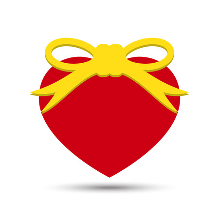 Vector Love Heart with Ribbon Bow Illustration