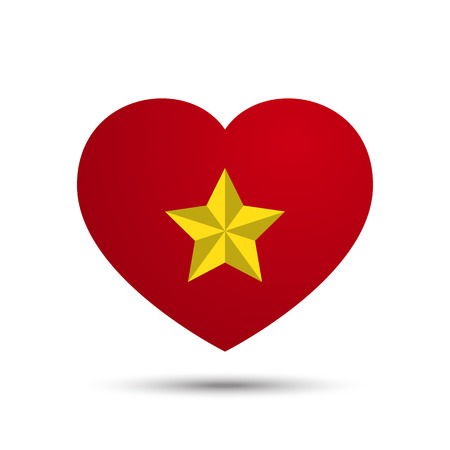 Vector Love Heart with Five Point Star Illustration Illustration