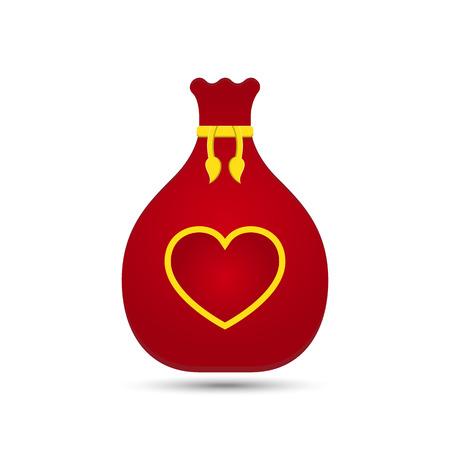 gift bag: Vector Love Heart Gift Bag Design Illustration