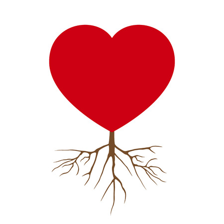 Vector Love Heart with Root Design Illustration Illustration