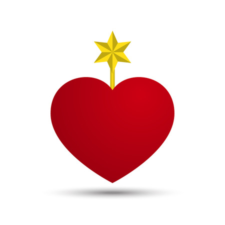 six point: Vector Love Heart with Six Point Star Illustration