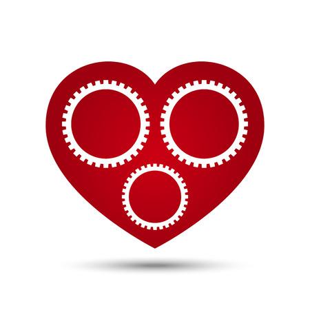 heart gear: Vector Love Heart Gear on white background Illustration Illustration