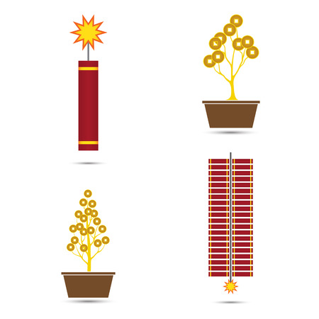 fire crackers: Fire Crackers and Coins Tree Pot for Chinese New Year Vector Illustration