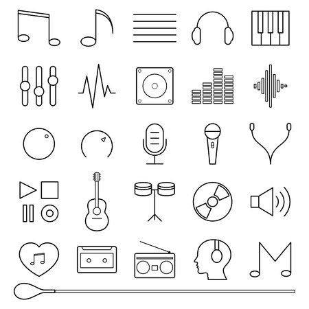 Black music icons set vector illustration Vector