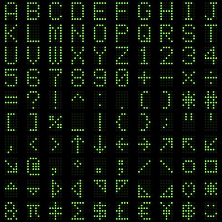 Green dot digital font alphabets, letters, numbers and symbols on dark background. Vector illustration. Vector