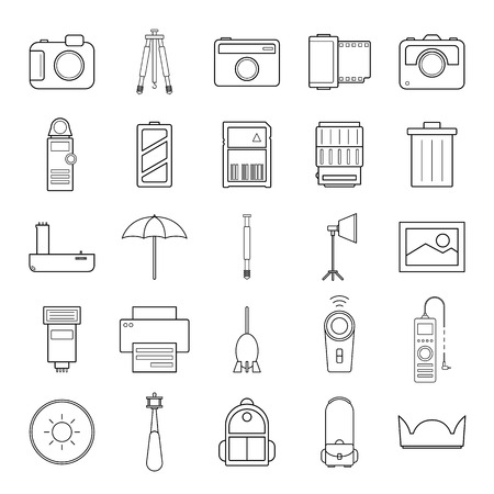 amera and accessories icons set vector illustration on white background