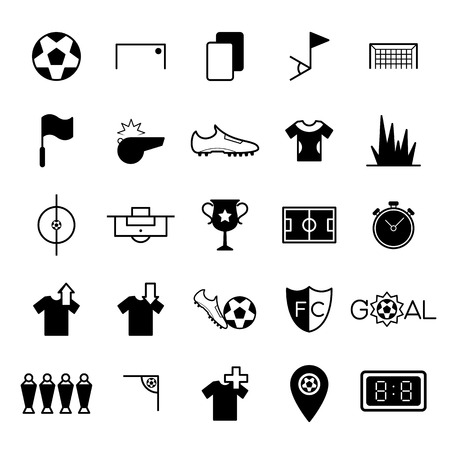 penalty flag: Soccer icons set vector illustration