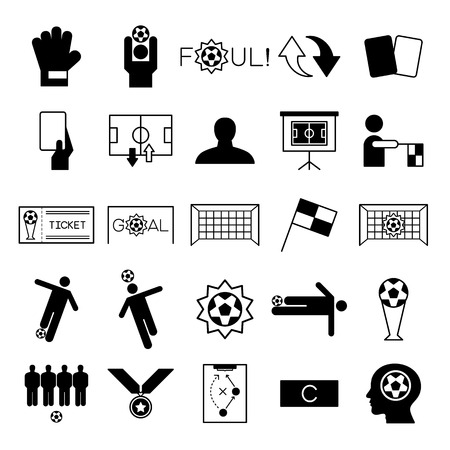 Soccer icons set vector illustration