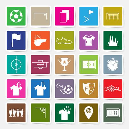 substitution: Soccer sticker icons set vector illustration