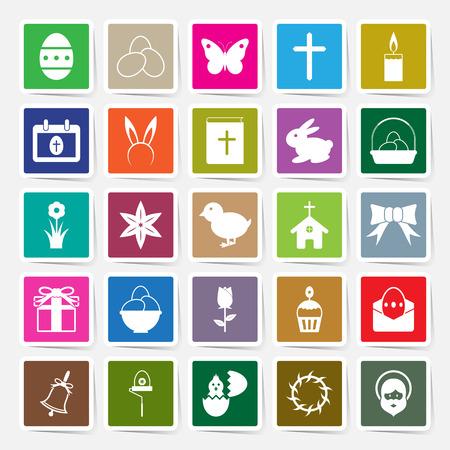 hairband: Easter icons set square sticker design vector illustration