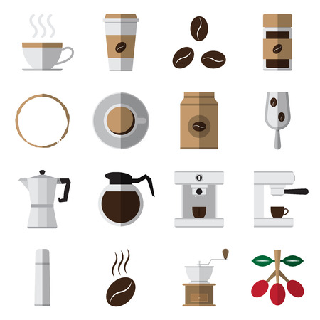percolator: coffee and tea flat icons set on white background