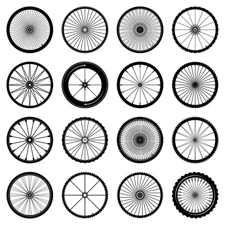 bicycle wheels set on white background Vector