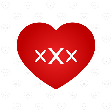 pornography: white XXX sign on red heart symbol with pattern background