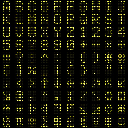 Yellow dot digital font alphabets, letters, numbers and symbols on dark background.