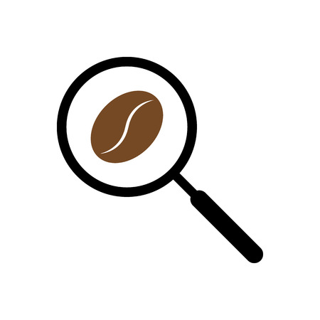 searh: Coffee searching with magnifying glass on white background vector illustration