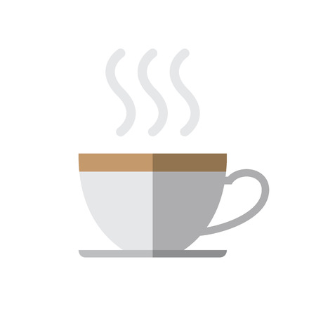 Coffee cup with steam on white background vector illustration