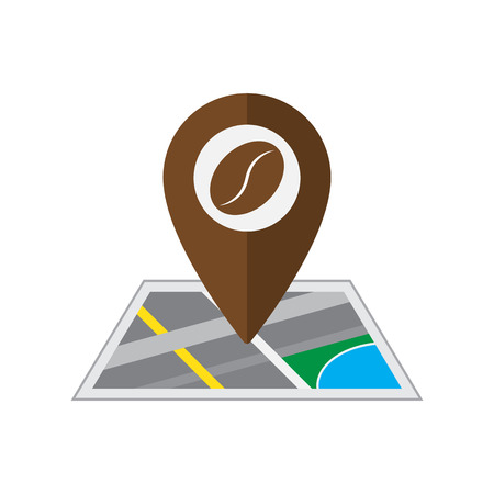 coordinated: Coffee pin on coordinated map location on white background vector illustration Illustration