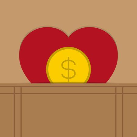 love heart money business concept vector illustration