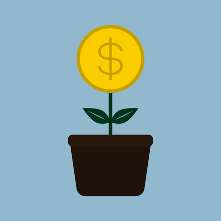 plant pot: money coin plant pot business concept vector illustration