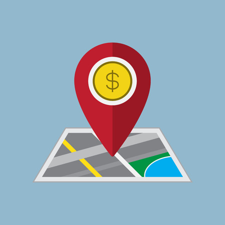 saving accounts: money pin on map business concept vector illustration