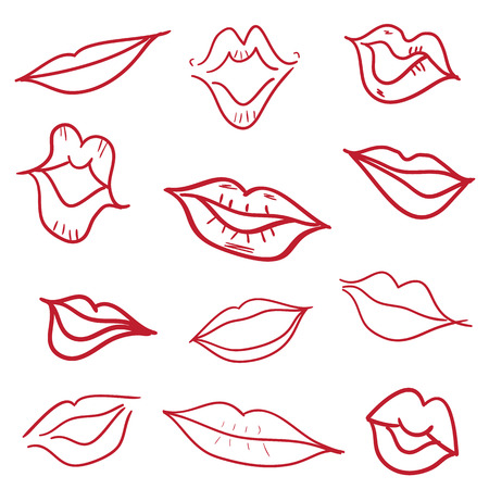 kiss lips: Red kiss lips mouth hand drawn doodle set vector illustration