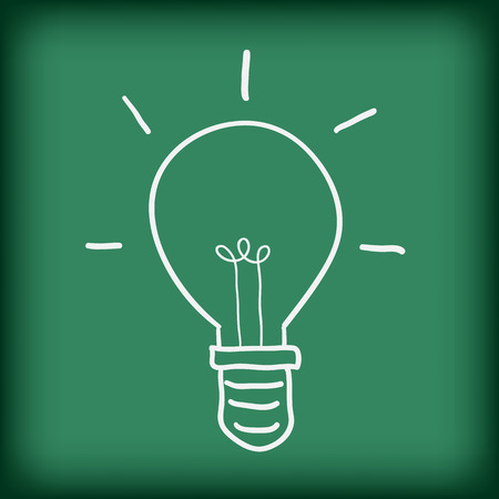 free hand: light bulb on blackboard free hand drawing doodle vector illustration