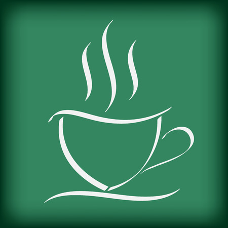 coffee cup on blackboard free hand drawing doodle vector illustration