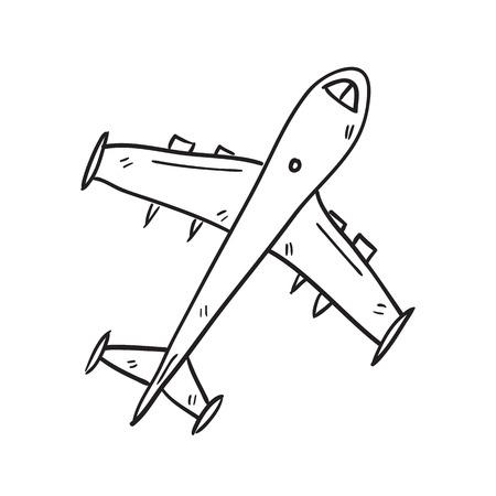 airplane doodle sketch hand drawn vector illustration Illustration