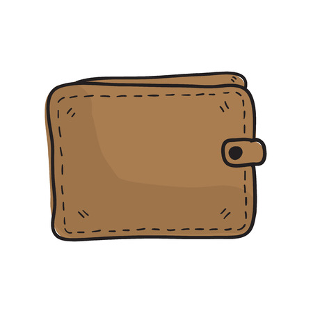 money wallet: money wallet doodle sketch hand drawn vector illustration Illustration