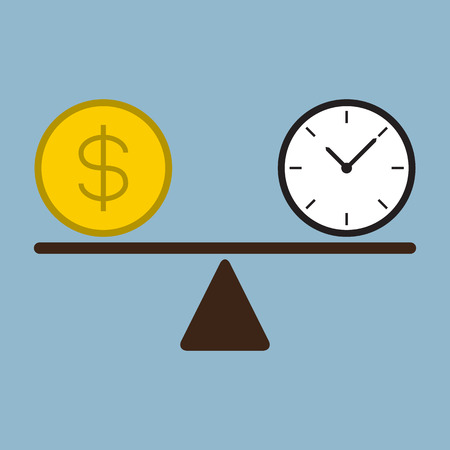 dollar: time and money coin on scale vector illustration. money and time concept Illustration