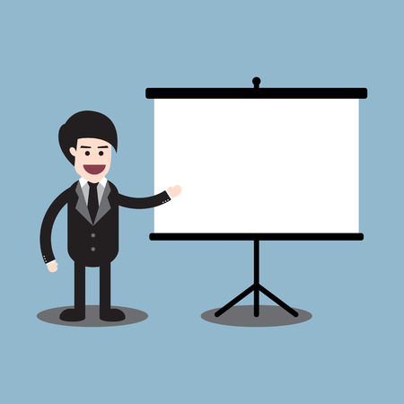 presentation board: businessman standing and reporting on presentation board vector illustration.
