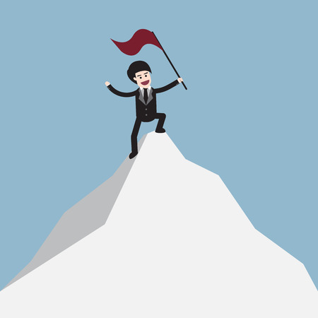 success concept: Businessman standing on top of mountain and holding flag represent success concept vector illustration