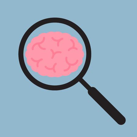 brain illustration: brain analysis, creative idea concept. vector illustration