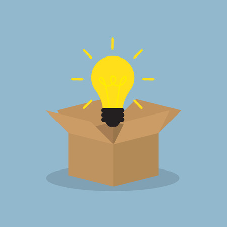 outside the box: light bulb float over opened box, think outside the box. vector illustration